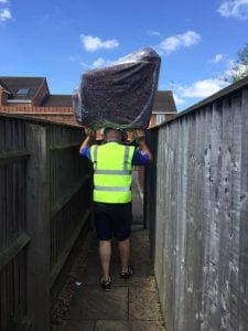 Henry and son Care removing sofa